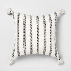 Hearth & Hand black stripe square pillow tassels